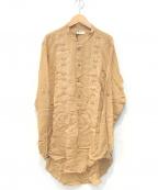 IROQUOIS(イロコイ)の古着「バンドカラー刺繍プルオーバーロングシャツ」 ベージュ