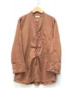 ()の古着「フリルデザインバンドカラーシャツ」 ブラウン