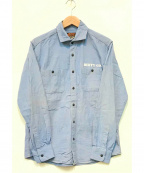 AT-DIRTY(アットダーティ)の古着「WIDE DUNGAREE L/S SHIRT」 ブルー
