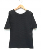 ISSEY MIYAKE(イッセイミヤケ)の古着「[OLD]ハニカムプリーツブラウス」|ブラック