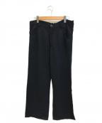 LIMI feu(リミフゥ)の古着「紋章ストライプレーヨンテーパードパンツ」 ブラック