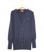 V.W. RED LABEL(ヴィヴィアンウエストウッドレッドレーベル)の古着「オーブ刺繍ウールカーディガン」|ネイビー