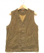 AT-DIRTY(アットダーティ)の古着「WORKERS VEST BROWN HICKORY」 ネイビー