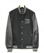 BURBERRY BLACK LABEL(バーバリーブラックレーベル)の古着「ワッペンスタジアムジャケット」 ブラック