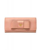 ()の古着「サフィアーノリボン長財布」|ピンク