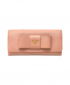 PRADA(プラダ)の古着「サフィアーノリボン長財布」 ピンク