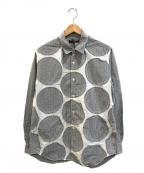 COMME des GARCONS HOMME(コムデギャルソンオム)の古着「サークルパッチデザインギンガムチェックシャツ」 ブラック×ホワイト