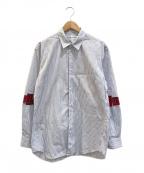 COMME des GARCONS SHIRT()の古着「チェック接ぎ袖ストライプシャツ」|ブルー