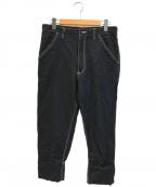BLACK COMME des GARCONS(ブラックコムデギャルソン)の古着「縮絨ポリギャバカラーステッチパンツ」 ブラック