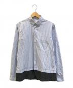 COMME des GARCONS SHIRT()の古着「ウールギャバ縮絨レイヤードシャツ」|ブルー