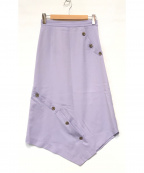 LE CIEL BLEU(ルシェルブルー)の古着「Button Detail Asymmetric Skirt」 パープル