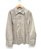 LE CIEL BLEU(ルシェルブルー)の古着「Faux Leather Shirt Jacket」 グレー