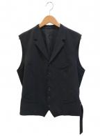 sulvam(サルバム)の古着「Gaba gillet / ギャバウールジレベスト」|ブラック