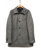 ()の古着「ポリエステルヘリンボーン中綿コート」 グレー