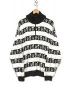()の古着「スカルボーダージャガードプルオーバー」 ホワイト×ブラック