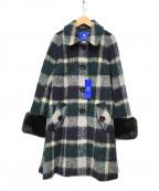 BLUE LABEL CRESTBRIDGE(ブルーレーベルクレストブリッジ)の古着「フェイクファースリーブチェックウールコート」|ネイビー