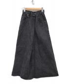 ()の古着「デザインロングデニムスカート」|ブラック