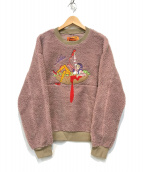 ()の古着「クルーネックボアスウェット」|ピンク