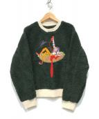 ()の古着「刺繍クルーネックボアスウェット」|グリーン