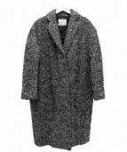 GOUT COMMUN(グーコミューン)の古着「MIXベルトツイードコクーンコート」|ホワイト×ブラック