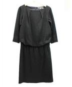 NATURAL BEAUTY(ナチュラルビューティー)の古着「シャイニーミラノリブワンピース」|ブラック