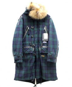 JohnUNDERCOVER×PENDLRTON(ジョンアンダーカバー×ペンドルトン)の古着「モッズコート」 ブラック×グリーン