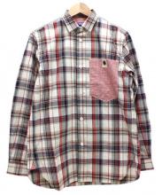 JUNYA WATANABE COMME des GARCONS MAN(ジュンヤワタナベ コムデギャルソン マン)の古着「綿麻チェックシャツ」|ベージュ