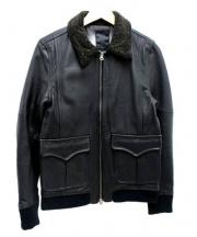 Shama(シャマ)の古着「襟ボアラムレザージャケット」 ブラック