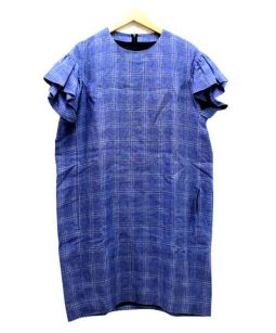 Drawer(ドロワー)の古着「袖フリルチェックワンピース」|ブルー