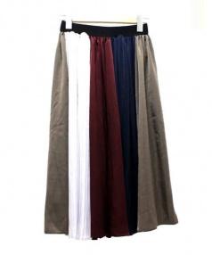 And Couture(アンドクチュール)の古着「配色プリーツスカート」|ボルドー×カーキ