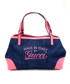 GUCCI(グッチ)の古着「デニムロゴトートバッグ」|インディゴ×ピンク