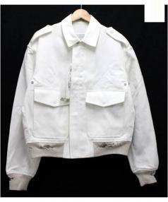 Martin Margiela 10(マルタンマルジェラ 10)の古着「ダメージ加工ジップジャケット」|ホワイト