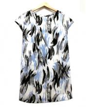 Demi-Luxe BEAMS(デミルクス ビームス)の古着「ブラッシュプリントワンピース」|ホワイト×ブルー