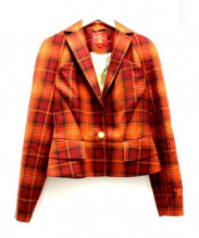 Vivienne Westwood RED LABEL(ヴィヴィアンウエストウッド レッドレーベル)の古着「チェックテーラードジャケット」 オレンジ×ブラウン
