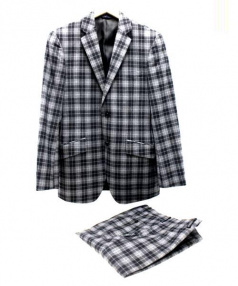 KENT&CURWEN(ケント&カーウェン)の古着「チェックセットアップスーツ」|グレー