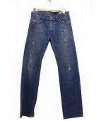 DIESEL(ディーゼル)の古着「クラッシュ加工デニムパンツ」|ブルー