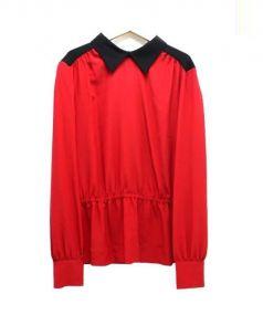 MARNI(マルニ)の古着「襟付バイカラーブラウス」|レッド×ブラック