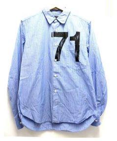 COMME des GARCONS HOMME(コムデギャルソンオム)の古着「ナンバリングストライプシャツ」|スカイブルー