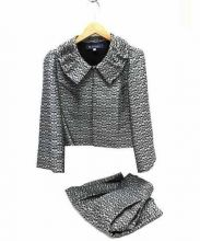M'S GRACY(エムズ グレイシー)の古着「フラワーデザインセットアップスーツ」|グレー×ライトグレー