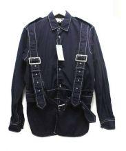 COMME des GARCONS SHIRT(コムデギャルソンシャツ)の古着「ベルテッドポプリンシャツ」|ネイビー