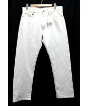 Violet Buffalo Wallows(ヴァイオレットバッファローワローズ)の古着「ニットチノクロップパンツ」|ホワイト