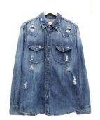 AG ADRIANO GOLDSCHMIED(エージー アドリアーノ ゴールドシュミッド)の古着「ダメージ加工デニムシャツ」|ブルー