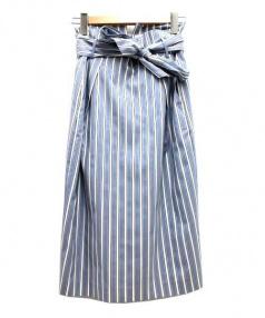 NOLLEY'S sophi(ノーリーズソフィー)の古着「リボン付ストライプスカート」|ホワイト×ブルー