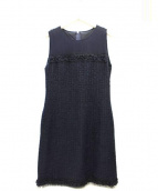 FOXEY(フォクシー)の古着「Dress Classic Tweedツイード切替ワンピース」|ミッドナイトブルー