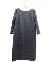 22 OCTOBRE(ヴァンドゥーオクトーブル)の古着「グレンチェックポンチワンピース」|グレー