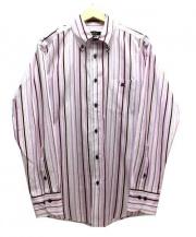 BURBERRY BLACK LABEL(バーバリーブラックレーベル)の古着「マルチストライプドレスシャツ」 ピンク×ホワイト