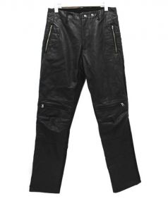 Max Fritz(マックスフリッツ)の古着「レザーバイカーパンツ」|ブラック