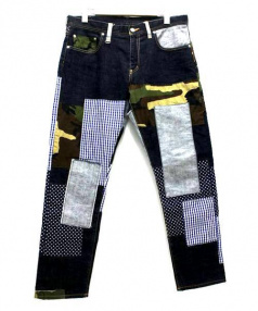 SOPH.(ソフ)の古着「スリムフィットアンクルカットリペアパンツ」 ブルー