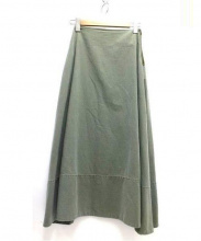 MADISON BLUE(マディソンブルー)の古着「バックサテンマキシスカート」|グリーン