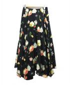 ANTEPRIMA(アンテプリマ)の古着「フラワープリントロングスカート」|ブラック
